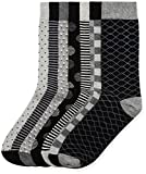 find. Calcetines Estampados para Hombre, Pack de 7, Negro (Grey Black Mix), Medium